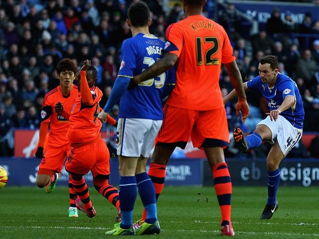 Leicester's Daniel Drinkwater scores his team's opening goal against Bolton during their Championship match on December 29, 2013