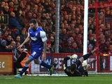 Ipswich's Daryl Murphy celebrates after scoring his team's opening goal against Bournemouth during their Championship match on December 29, 2013