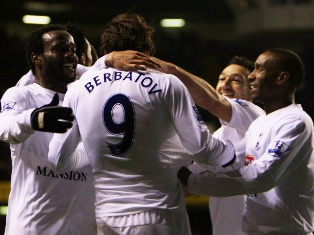 Dimitar Berbatov, then of Tottenham Hotspur, celebrates scoring against Reading on December 29, 2007.