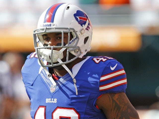 Dorin Dickerson #42 of the Buffalo Bills warms up prior to the game against the Miami Dolphins on December 23, 2012