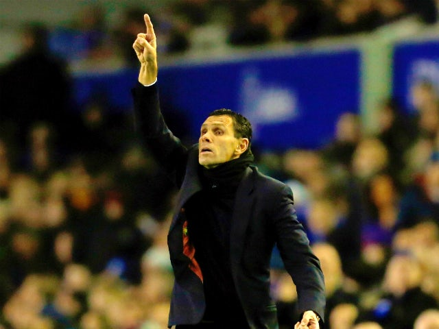 Manager Gus Poyet of Sunderland gestures during the Barclays Premier League match between Everton and Sunderland at Goodison Park on December 26, 2013
