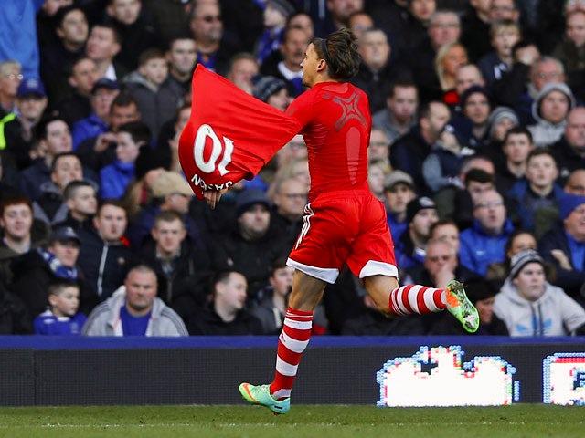 Southampton's Gaston Ramirez celebrates after scoring his team's opening goal against Everton during their Premier League match on December 29, 2013