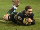 George North of Northampton dives over for the final try during the Aviva Premiership match between Northampton Saints and Bath at Franklin's Gardens on