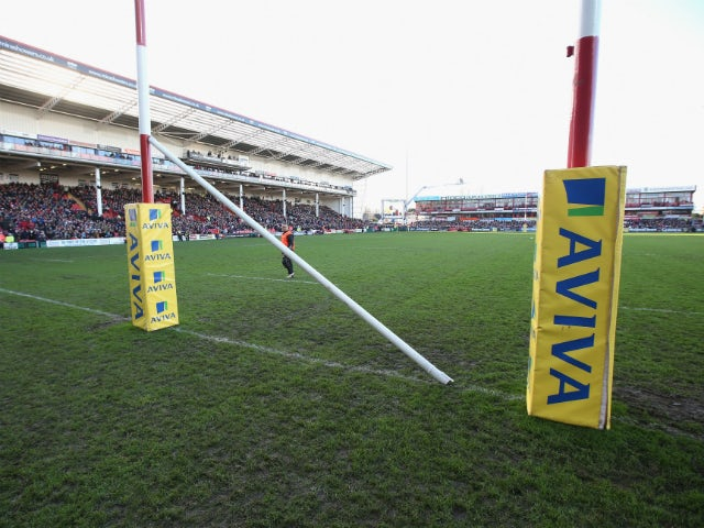 The crossbar on the post lies on the ground, after being damaged during the pre match entertainment during the Aviva Premiership match between Gloucester and Worcester Warriors at Kingsholm Stadium on December 22, 2013