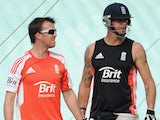 England captain Graeme Swann and Kevin Pietersen during a nets session at Eden Gardens on October 28, 2011