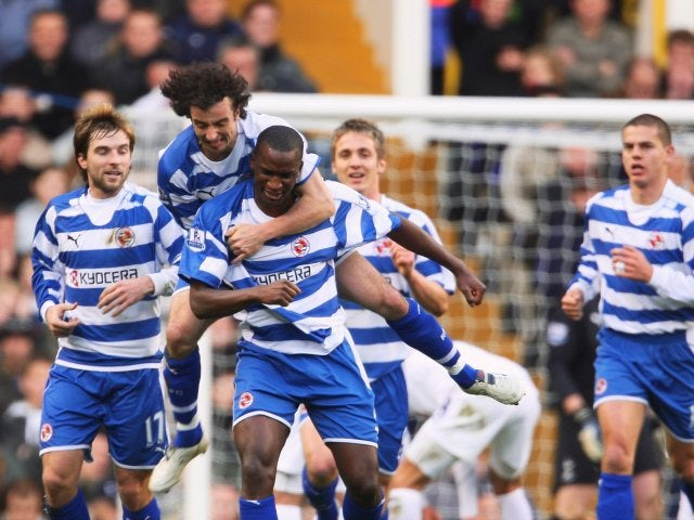 Kalifa Cisse, then of Reading, celebrates scoring against Tottenham Hotspur on December 29, 2007.