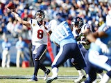 Matt Schaub of the Houston Texans throws a pass against the Tennessee Titans at LP Field on December 29, 2013
