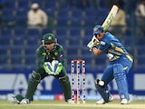 Batsman TM Dilshan of Sri Lanka plays a shot during the fifth and final One Day International cricket match between Pakistan and Sri Lanka in Abu Dhabi on December 27, 2013