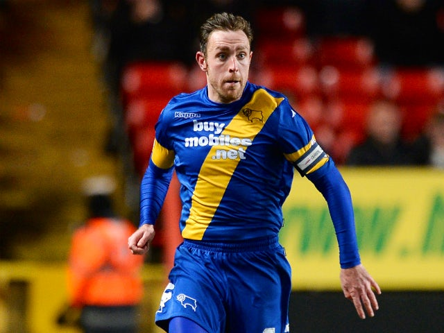 Richard Keogh Of Derby County in action during the Sky Bet Championship match between Charlton Athletic and Derby County at The Valley on December 14, 2013