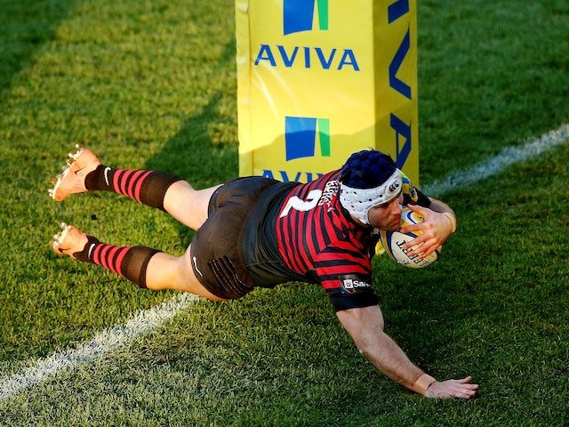 Schalk Brits of Saracens scores a try during the Aviva Premiership match between Worcester Warriors and Saracens at Sixways Stadium on December 28, 2013