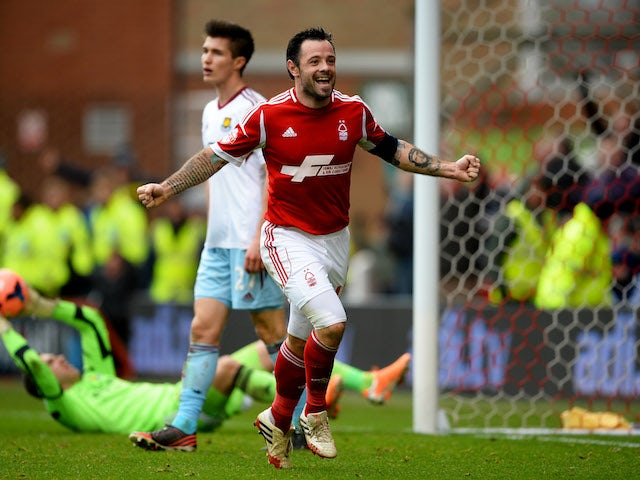 Andy Reid of Nottingham Forest celebrates as he scores their fifth goal during the FA Cup with Budweiser Third round match against West Ham United on January 5, 2014