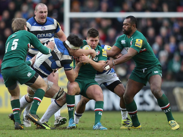 Ben Youngs of Leicester Tigers takes possesion during the Aviva Premiership match between Leicester Tigers and Bath at Welford Road on January 5, 2014