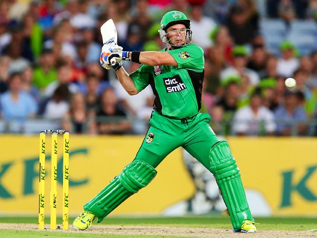 Brad Hodge of the Stars hits for six during the Big Bash League match between Sydney Thunder and the Melbourne Stars at ANZ Stadium on January 1, 2014