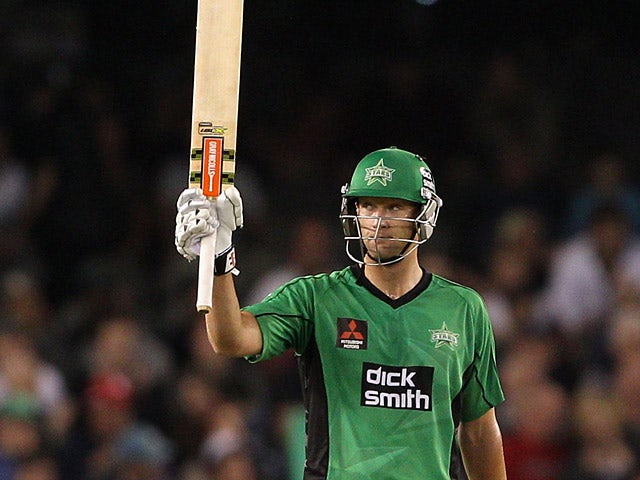 Melbourne Stars' Cameron White celebrates his half century against Melbourne Renegades during their Big Bash League match on January 4, 2013