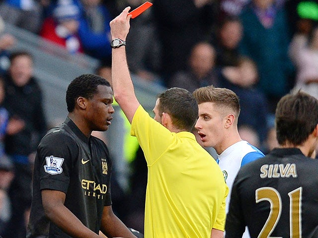 Man City's Dedryck Boyata is sent off against Blackburn during their FA Cup third round match on January 4, 2013