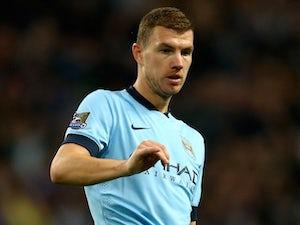 Edin Dzeko in action for Manchester City on October 29, 2014