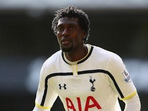 Emmanuel Adebayor in action for Tottenham Hotspur on October 5, 2014