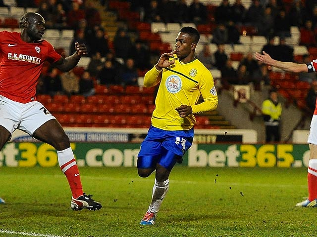 Coventry's Franck Moussa celebrates after scoring his team's first goal against Barnsley during their FA Cup third round match on January 4, 2013