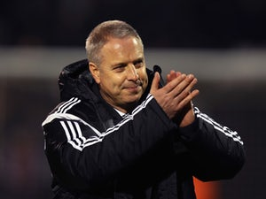 Fulham Manager Kit Symons attends the Sky Bet Championship match between Fulham and Brighton & Hove Albion at Craven Cottage on December 29, 2014