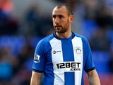Ivan Ramis of Wigan during the Barclays Premier League match between Wigan Athletic and West Ham United at the DW Stadium on October 27, 2012