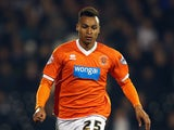 Jacob Murphy of Blackpool in action during the Sky Bet Championship match between Fulham and Blackpool at Craven Cottage on November 5, 2014
