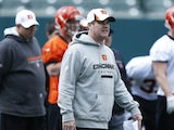 Offensive coordinator Jay Gruden of the Cincinnati Bengals looks on during a rookie camp at Paul Brown Stadium on May 12, 2013