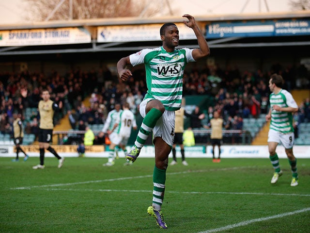 Yeovil's Joel Grant celebrates after scoring his team's second goal against Leyton Orient during their FA Cup third round match on January 4, 2013