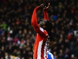 Stoke's Kenwyne Jones celebrates after scoring the opening goal against Leicester during their FA Cup third round match on January 4, 2013