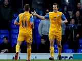 Preston's Kevin Davies celebrates with teammate Lee Holmes after scoring his team's opening goal against Ipswich during their FA Cup third round match on January 4, 2013