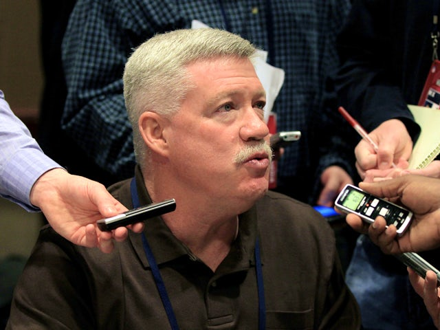 Offensive coordinator Kevin Gilbride of the New York Giants answers questions from the press during a media availability session for Super Bowl XLVI at the Indianapolis Downtown Marriott on February 2, 2012
