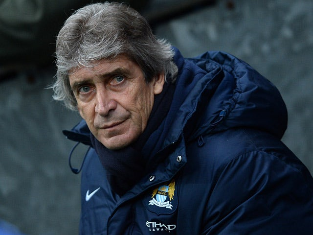 Man City manager Manuel Pellegrini prior to kick-off against Blackburn during their FA Cup third round match on January 4, 2013