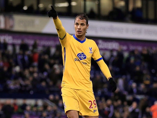 Crystal Palace's Marouane Chamakh celebrates after scoring his team's second goal against West Brom during their FA Cup third round match on January 4, 2013