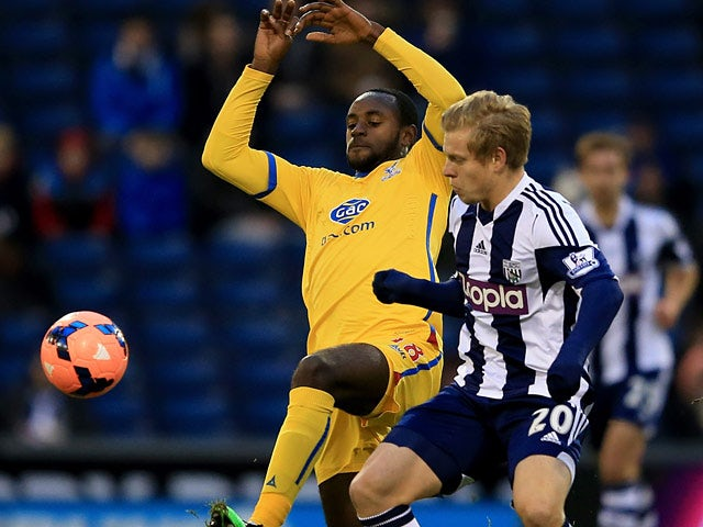 West Brom's Matej Vydra and Crystal Palace's Hiram Boateng in action during their FA Cup third round match on January 4, 2013