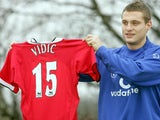 Nemanja Vidic poses with a Manchester United shirt on January 09, 2006.