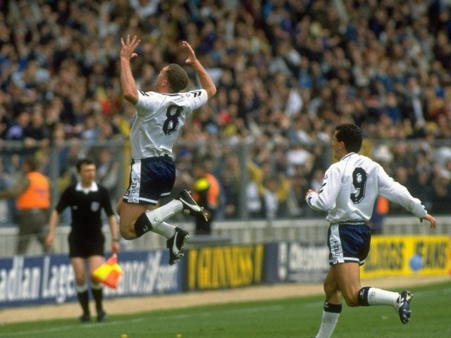 Paul Gascoigne, then of Tottenham Hotspur, celebrates scoring against Arsenal on April 14, 1991.