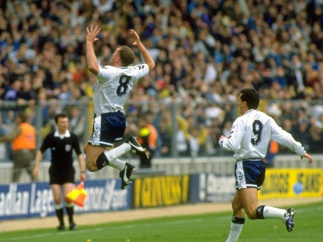 Paul Gascoigne, then of Tottenham Hotspur, celebrates scoring against Arsenal on April 14, 1991.