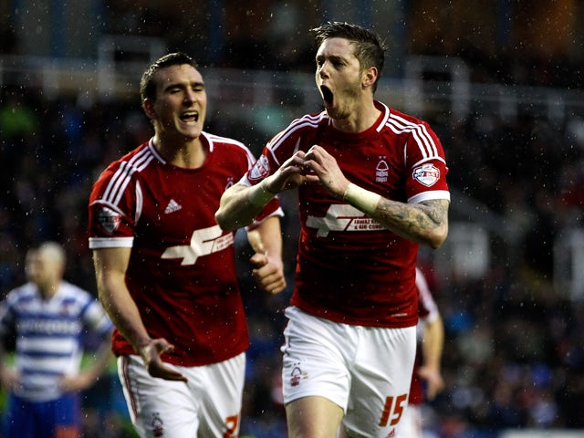 Greg Halford of Nottingham Forest celebrates after scoring the opening goal of the game during the Sky Bet Championship match between Reading and Nottingham Forest at Madejski Stadium on January 01, 2014