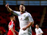 Burnley's Sam Vokes celebrates after scoring his team's first goal against Southampton during their FA Cup third round match on January 4, 2013