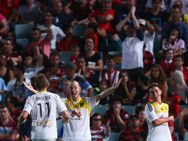 Stein Huysegems of the Phoenix celebrates his goal during the round 13 A-League match between the Western Sydney Wanderers and Wellington Phoenix at Parramatta Stadium on January 1, 2014