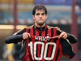 Kaka of AC Milan celebrates scoring his 100th goal for the club during the Serie A match between AC Milan and Atalanta BC at San Siro Stadium on January 6, 2014