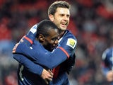 Paris Saint-Germain's Italian midfielder Thiago Motta celebrates with French midfielder Blaise Matuidi after scoring a goal during the French Cup football match between Brest and PSG at the Francis Le Ble stadium in Brest, western France, on January 8, 20
