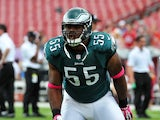 Linebacker Brandon Graham #55 of the Philadelphia Eagles warms up for play against the Tampa Bay Buccaneers October 13, 2013