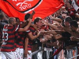 Brendon Santalab of the Wanderers celebrates his goal during the round 14 A-League match between the Western Sydney Wanderers and Sydney FC at Parramatta Stadium on January 11, 2014