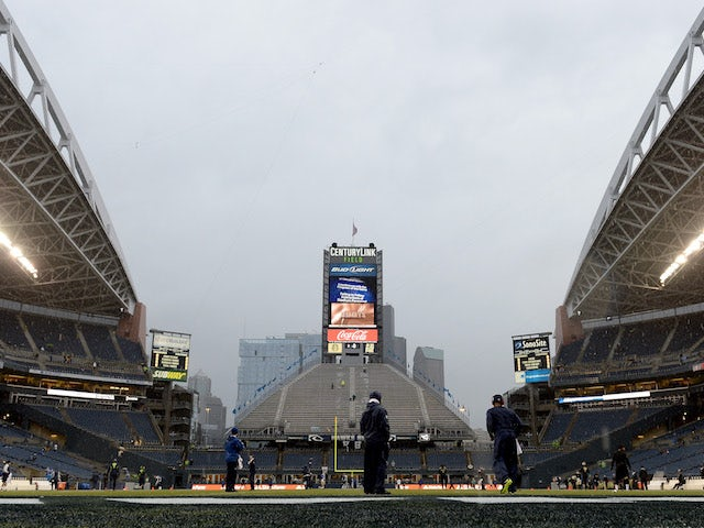 A general view of the field as heavy rain comes down before the Seattle Seahawks take on the New Orleans Saints in the NFC Divisional Playoff Game at CenturyLink Field on January 11, 2013