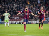 Barcelona's midfielder Cesc Fabregas (C) celebrates his goal during the Spanish Copa del Rey (King's Cup) FC Barcelona vs Getafe CF on January 8, 2014