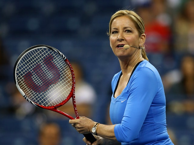 Chris Evert of the United States of America looks on during the exhibition doubles match against Jason Biggs and Rainn Wilson on Day Eleven of the 2013 US Open at USTA Billie Jean King National Tennis Center on September 5, 2013