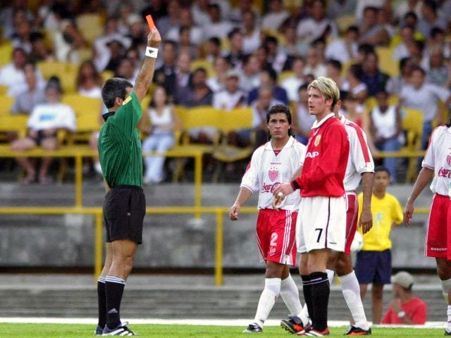 David Beckham is sent off during Manchester United's first Club World Cup game on January 06, 2000.