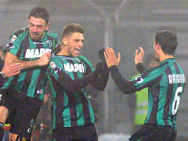 Domenico Berardi of US Sassuolo Calcio #25 celebrates scoring the fourth goal during the Serie A match between US Sassuolo Calcio and AC Milan on January 12, 2014