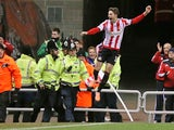 Sunderland's Italian forward Fabio Borini celebrates scoring a penalty during a League Cup semi-final first leg match against Manchester United on January 7, 2014