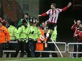 Sunderland's Italian forward Fabio Borini celebrates scoring a penalty during a League Cup semi-final first leg match against Manchester United on January 7, 2014